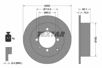 Тормозной диск на Митсубиси Сантамо 'TEXTAR 92104000'.