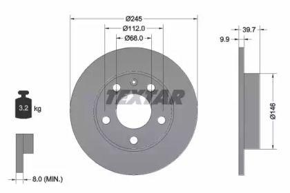 Тормозной диск на Сеат Эксео 'TEXTAR 92106203'.