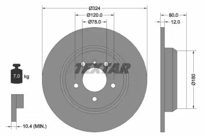 Тормозной диск на BMW X5 'TEXTAR 92107403'.