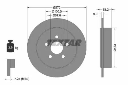 Тормозной диск на Додж Неон 'TEXTAR 92108600'.
