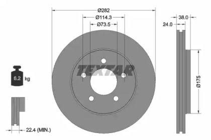 Вентилируемый тормозной диск на Додж Караван 'TEXTAR 92108700'.
