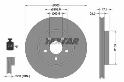 Вентилируемый тормозной диск на Форд Метростар 'TEXTAR 92109603'.