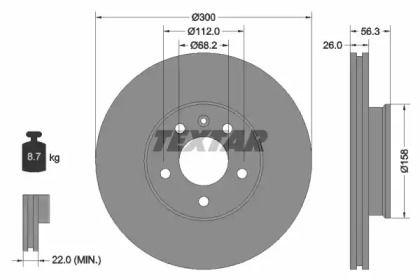 Вентилируемый тормозной диск на VOLKSWAGEN KOMBI 'TEXTAR 92109803'.