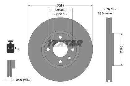 Перфорированный тормозной диск на CITROEN C3 AIRCROSS 'TEXTAR 92111603'.
