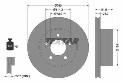 Вентилируемый тормозной диск на Джип Каманч 'TEXTAR 92113500'.