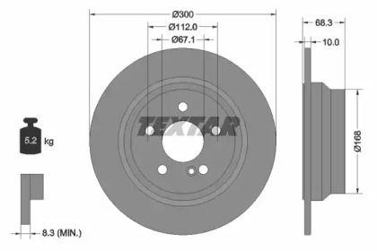 Тормозной диск на Мерседес ЦЛС 'TEXTAR 92115405'.