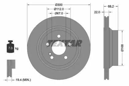 Вентилируемый тормозной диск на Мерседес ГЛК 'TEXTAR 92115505'.