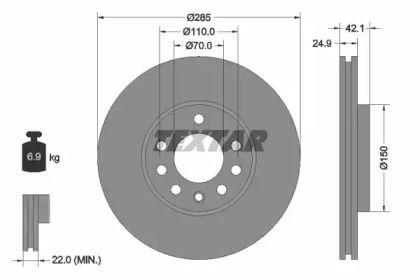 Вентилируемый тормозной диск на CADILLAC BLS 'TEXTAR 92118703'.