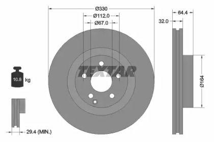Вентилируемый тормозной диск на Мерседес ГЛК 'TEXTAR 92119905'.
