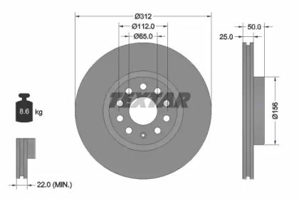 Вентилируемый тормозной диск на VOLKSWAGEN ARTEON 'TEXTAR 92120505'.