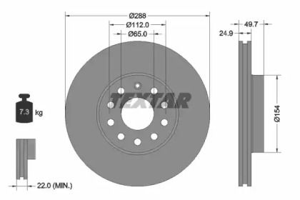 Вентилируемый тормозной диск на VOLKSWAGEN GOL 'TEXTAR 92120805'.