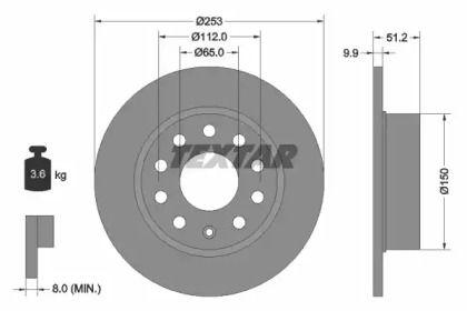 Тормозной диск на Фольксваген Гол 'TEXTAR 92120903'.