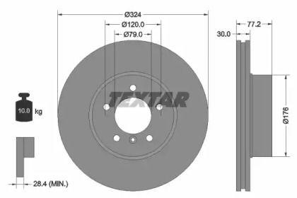 Вентилируемый тормозной диск на Дайхатсу Хайджет 'TEXTAR 92122605'.