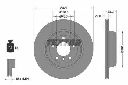 Перфорированный тормозной диск на БМВ 6 'TEXTAR 92122703'.