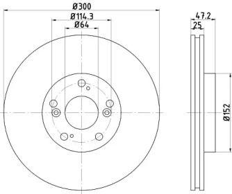 Вентилируемый тормозной диск на Акура Рсх 'TEXTAR 92125000'.
