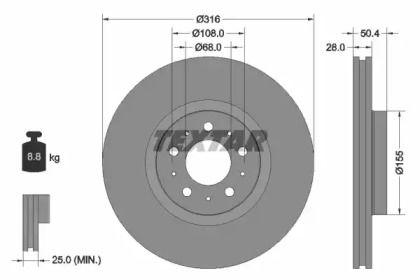 Перфорированный тормозной диск на VOLVO XC90 'TEXTAR 92126603'.