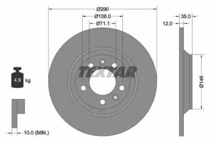 Тормозной диск на PEUGEOT RCZ 'TEXTAR 92129603'.