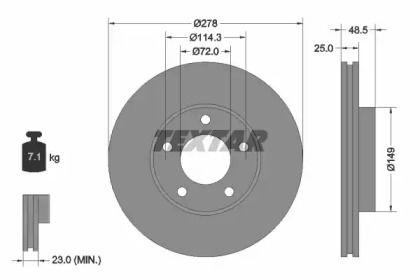 Вентилируемый тормозной диск 'TEXTAR 92130303'.