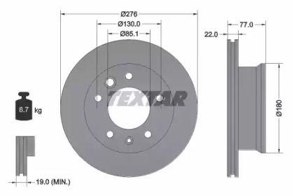 Вентилируемый тормозной диск на Мерседес Варио 'TEXTAR 92131503'.