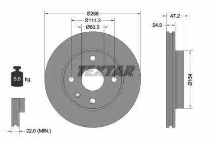 Вентилируемый тормозной диск на CHEVROLET EVANDA 'TEXTAR 92133500'.