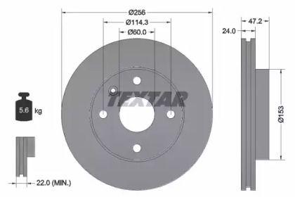 Вентилируемый тормозной диск на CHEVROLET OPTRA 'TEXTAR 92133600'.