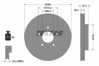 Вентилируемый тормозной диск на HYUNDAI TIBURON 'TEXTAR 92133903'.