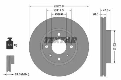 Вентильований гальмівний диск TEXTAR 92136700.