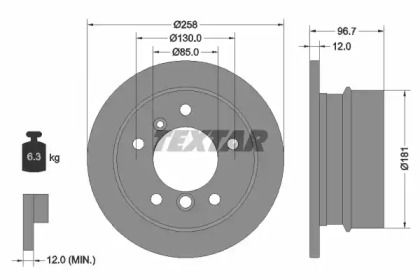 Тормозной диск на MERCEDES-BENZ G-CLASS 'TEXTAR 92137503'.