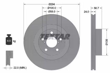 Вентилируемый тормозной диск на Субару ВРХ TEXTAR 92139500.