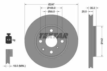 Перфорированный тормозной диск на CITROEN C1 'TEXTAR 92141903'.