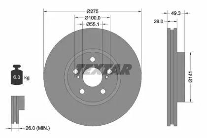 Вентилируемый тормозной диск на Тайота Калдина 'TEXTAR 92142003'.