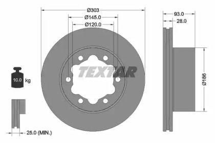 Вентилируемый тормозной диск на MERCEDES-BENZ T1 'TEXTAR 93143403'.