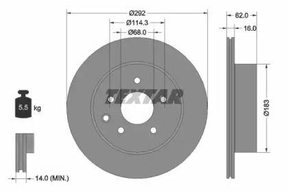 Вентилируемый тормозной диск на Ниссан Роуг 'TEXTAR 92144003'.
