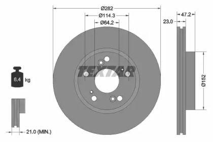 Вентилируемый тормозной диск на HONDA FR-V 'TEXTAR 92144403'.