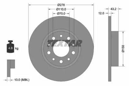 Тормозной диск на ALFA ROMEO BRERA 'TEXTAR 92145203'.