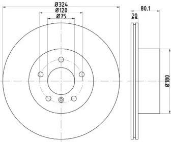 Перфорированный тормозной диск на SSANGYONG RODIUS 'TEXTAR 92146303'.