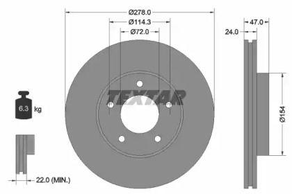 Вентилируемый тормозной диск на Мазда Трибьют 'TEXTAR 92146503'.