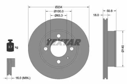 Вентилируемый тормозной диск TEXTAR 92146800 рисунок 0