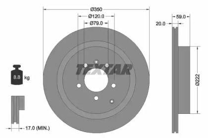 Перфорированный тормозной диск на RANGE ROVER SPORT 'TEXTAR 92147703'.