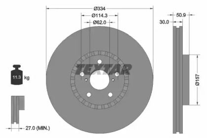 Перфорированный тормозной диск на Лексус РС 'TEXTAR 92147903'.