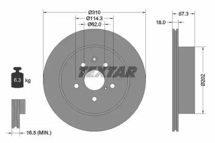 Вентилируемый тормозной диск на TOYOTA MARK 'TEXTAR 92148003'.