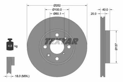 Вентилируемый тормозной диск на Сузуки Сплэш 'TEXTAR 92148903'.