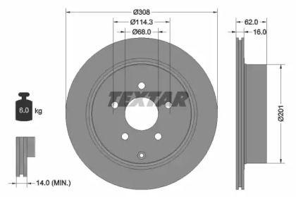 Вентилируемый тормозной диск на NISSAN SKYLINE 'TEXTAR 92149303'.