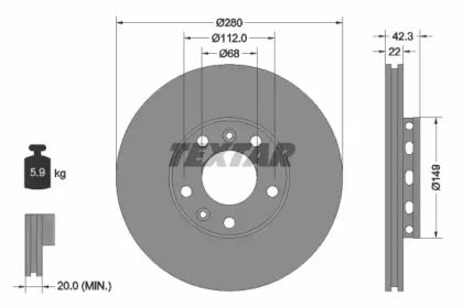 Перфорированный тормозной диск на VOLKSWAGEN PHAETON 'TEXTAR 92152200'.