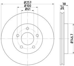 Вентилируемый тормозной диск на DODGE NEON 'TEXTAR 92152403'.