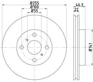 Вентилируемый тормозной диск на TOYOTA AQUA 'TEXTAR 92156100'.