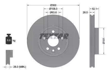 Вентилируемый тормозной диск на DISCOVERY SPORT 'TEXTAR 92159205'.