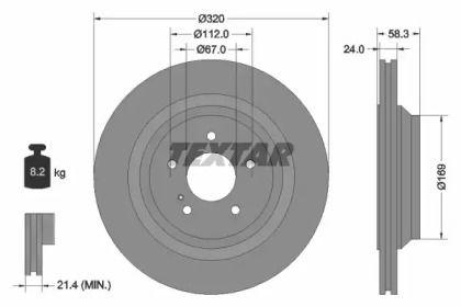Вентильований гальмівний диск TEXTAR 92160705.