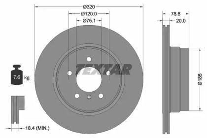 Вентилируемый тормозной диск на БМВ Х6 'TEXTAR 92161103'.