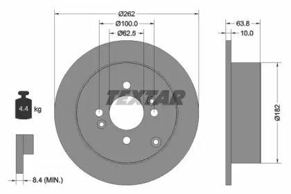 Тормозной диск на KIA PRIDE 'TEXTAR 92161303'.